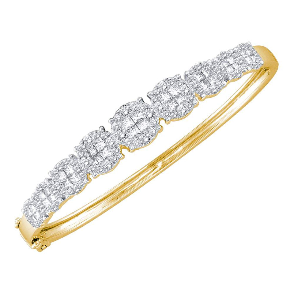 14kt Yellow Gold Womens Princess Round Diamond Soleil Bangle Bracelet 3-1/10 Cttw