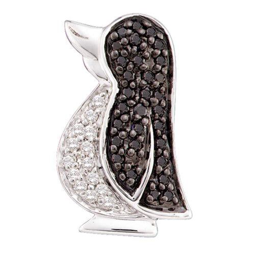 14kt White Gold Womens Round Black Color Enhanced Diamond Penguin Bird Animal Pendant 1/4 Cttw