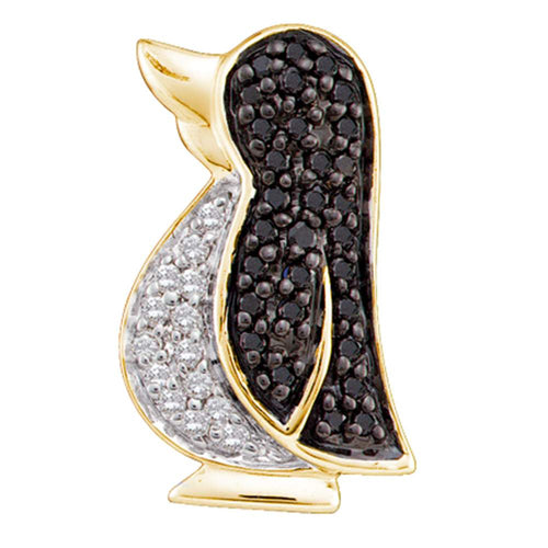 14kt Yellow Gold Womens Round Black Color Enhanced Diamond Penguin Bird Animal Pendant 1/4 Cttw