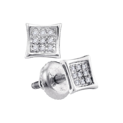 10kt White Gold Womens Round Diamond Square Kite Cluster Stud Earrings 1/20 Cttw