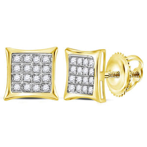 10kt Yellow Gold Womens Round Diamond Square Kite Cluster Stud Earrings 1/10 Cttw