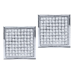 10kt White Gold Womens Round Diamond Square Cluster Stud Earrings 1/20 Cttw