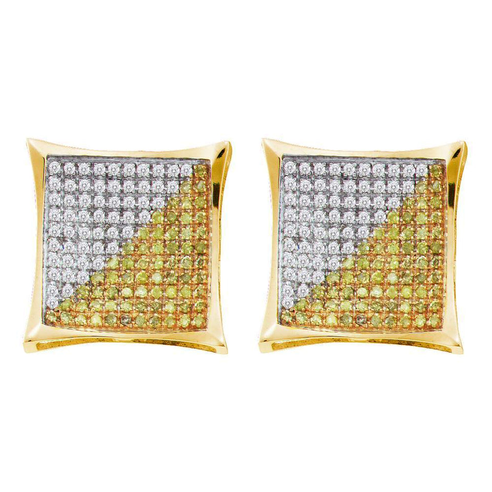 10kt Yellow Gold Mens Round Blue Yellow Color Enhanced Diamond Square Cluster Earrings 1//20 Cttw