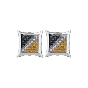 Sterling Silver Mens Round Blue Yellow Color Enhanced Diamond Square Cluster Earrings 1/6 Cttw