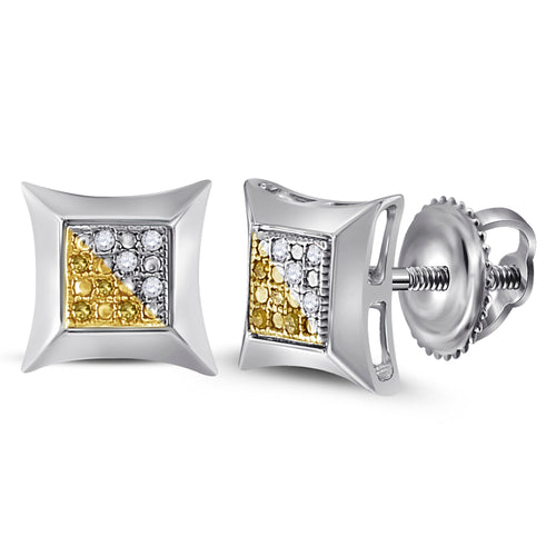 Sterling Silver Unisex Round Color Enhanced Yellow Diamond Stud Earrings 1/20 Cttw