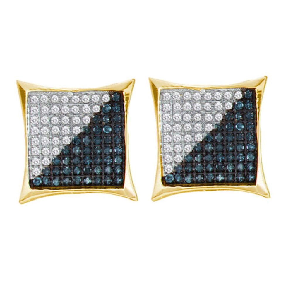 10kt White Gold Mens Round Blue Yellow Color Enhanced Diamond Square Kite Earrings 1//20 Cttw