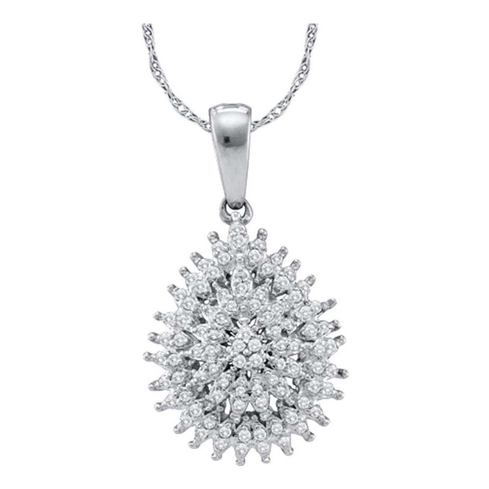 10kt White Gold Womens Round Diamond Teardrop Cluster Pendant 1/4 Cttw