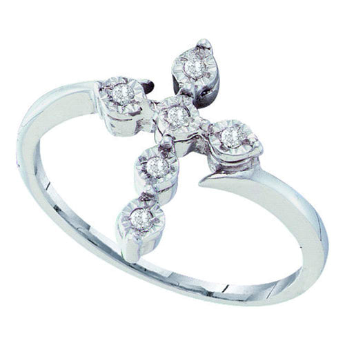 Sterling Silver Womens Round Diamond Cross Faith Fashion Ring 1/20 Cttw