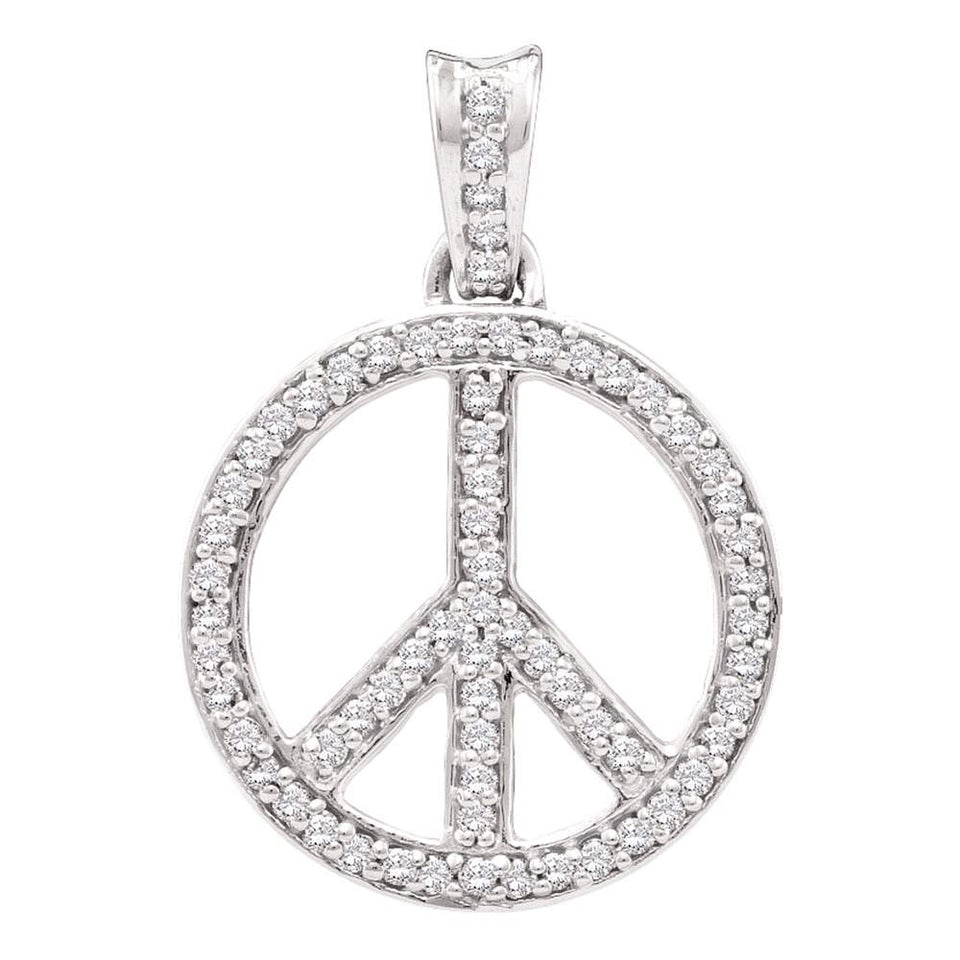 10kt White Gold Womens Round Diamond Peace Sign Circle Pendant 1/4 Cttw