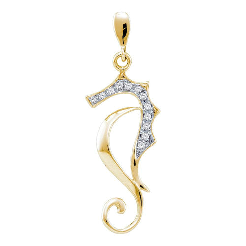 10kt Yellow Gold Womens Round Diamond Sea Horse Nautical Animal Pendant 1/20 Cttw