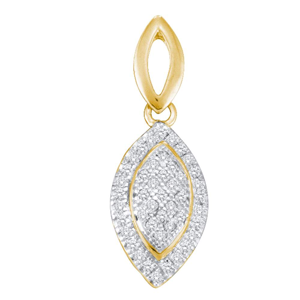 Yellow-tone Sterling Silver Womens Round Diamond Oval Pendant 1/6 Cttw