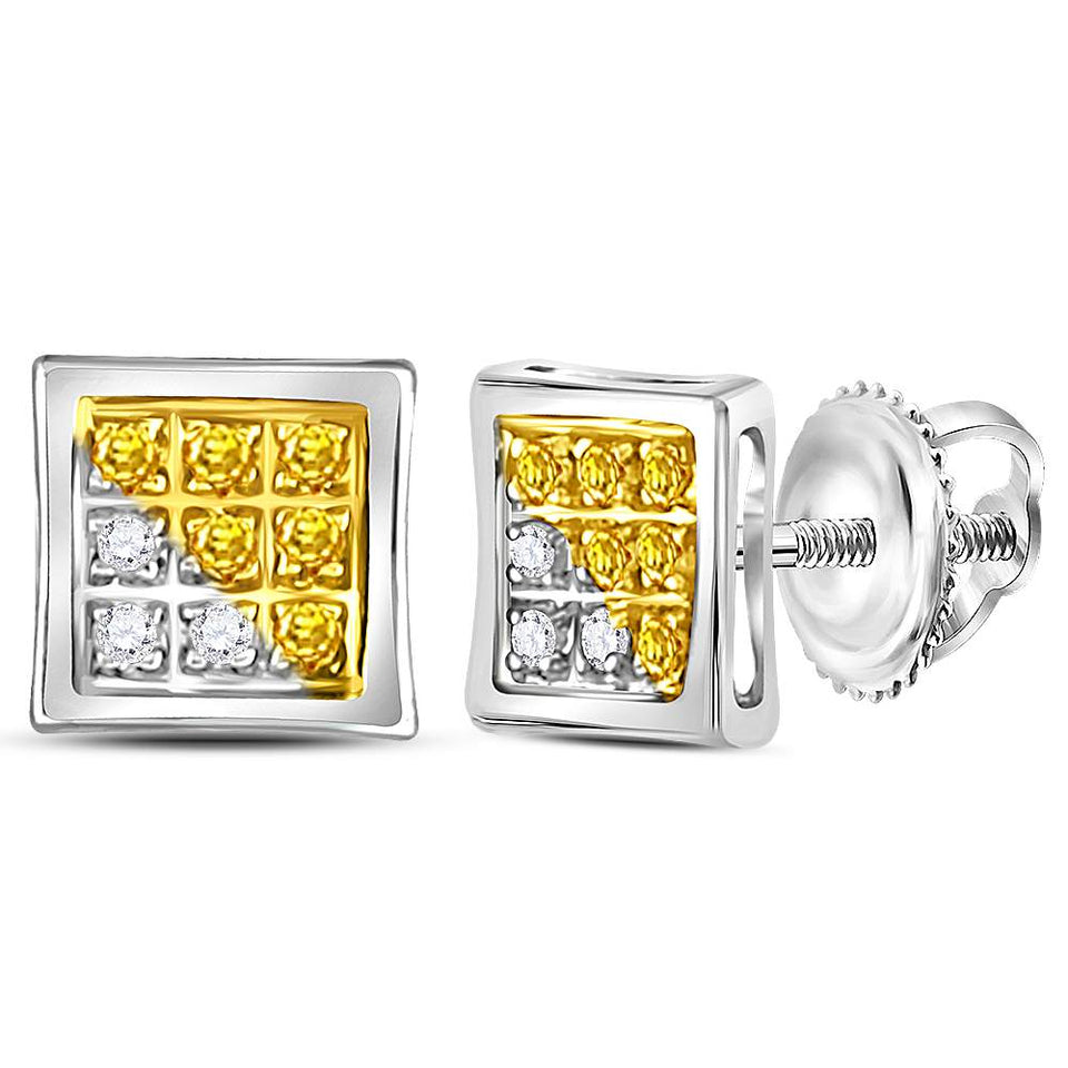 Sterling Silver Unisex Round Color Enhanced Yellow Diamond Stud Earrings 1//20 Cttw