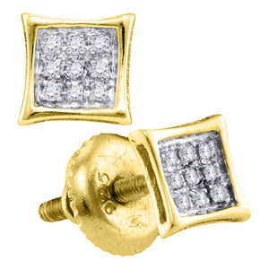 Yellow-tone Sterling Silver Unisex Round Diamond Kite Cluster Stud Earrings 1/20 Cttw