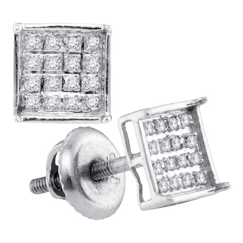 Sterling Silver Womens Round Diamond Square Cluster Screwback Earrings 1/10 Cttw