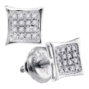 Sterling Silver Womens Round Diamond Square Kite Cluster Stud Earrings 1/10 Cttw