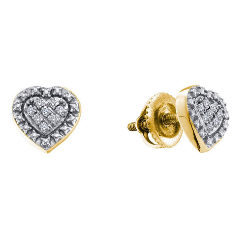 Yellow-tone Sterling Silver Womens Round Diamond Heart Cluster Stud Earrings 1/20 Cttw