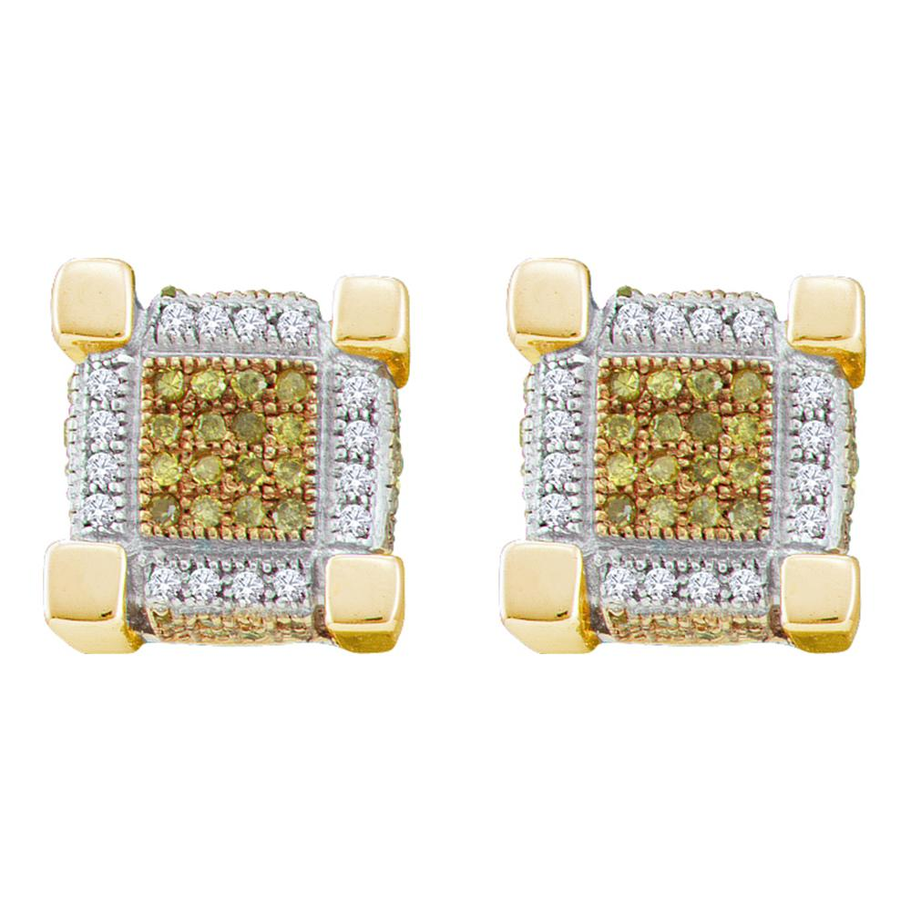 10kt Yellow Gold Mens Round Yellow Color Enhanced Diamond 3D Cube Stud Earrings 1/2 Cttw