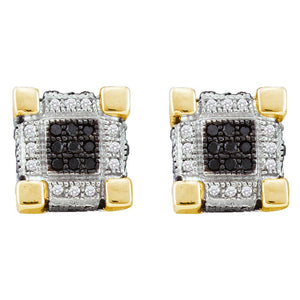 10kt Yellow Gold Mens Round Diamond 3D Cube Square Cluster Stud Earrings 1/4 Cttw