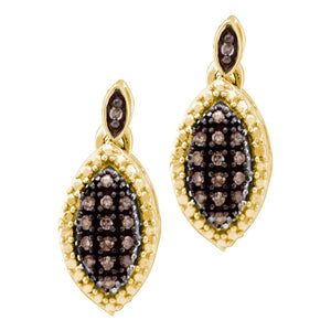 10kt Yellow Gold Womens Round Cognac-brown Color Enhanced Diamond Dangle Earrings 1/3 Cttw