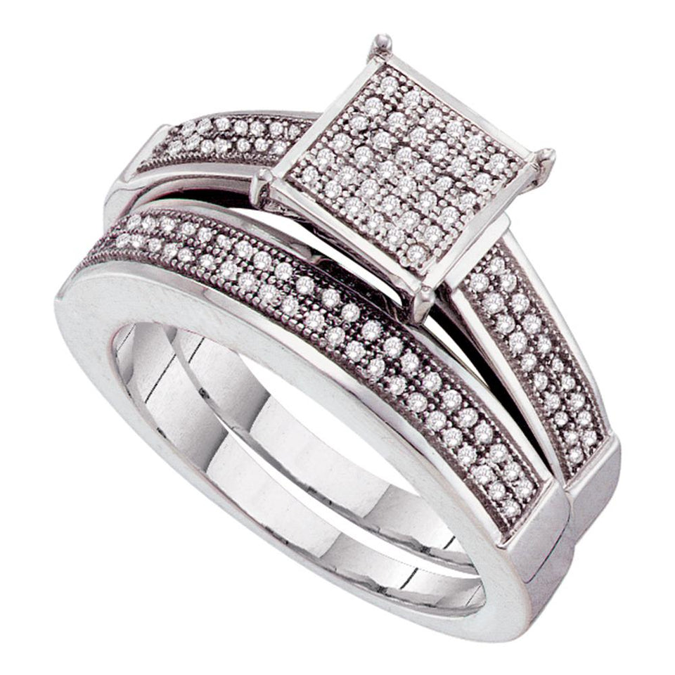 Sterling Silver Womens Round Diamond Bridal Wedding Engagement Ring Band Set 1/3 Cttw