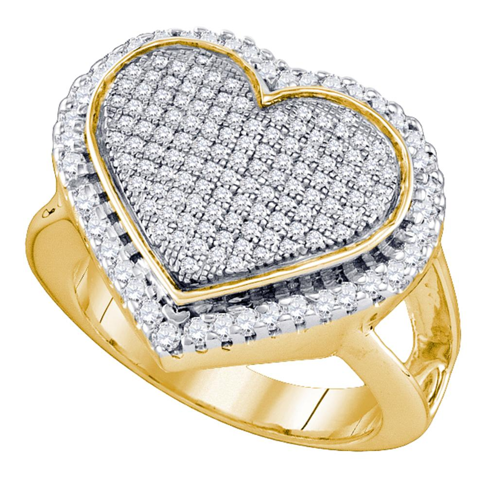 Yellow-tone Sterling Silver Womens Round Diamond Heart Ring 1/6 Cttw