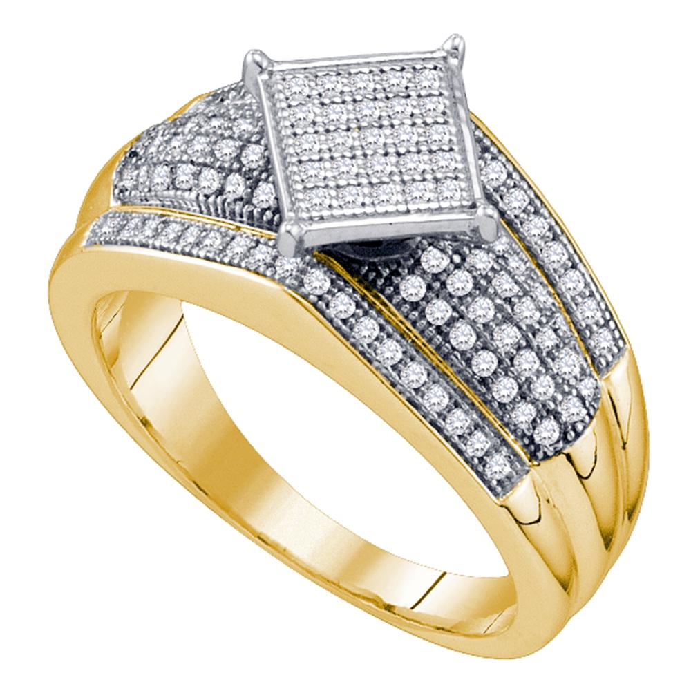 10kt Yellow Gold Womens Round Diamond Elevated Square Cluster Ring 1/3 Cttw