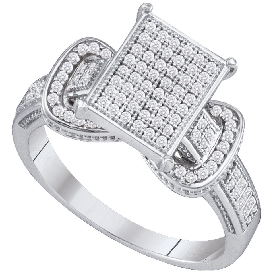 10kt White Gold Womens Round Diamond Rectangle Cluster Fashion Ring 1/3 Cttw