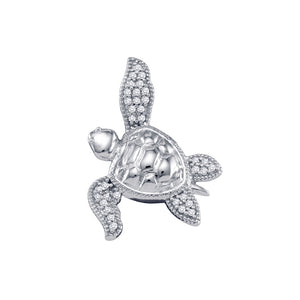 10kt White Gold Womens Round Diamond Turtle Tortoise Animal Pendant 1/10 Cttw