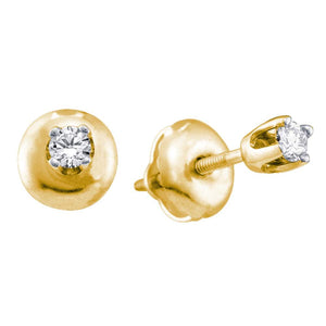 14kt Yellow Gold Girls Infant Round Diamond Solitaire Stud Earrings 1/12 Cttw