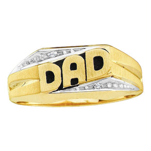 10kt Yellow Gold Mens Round Diamond Dad Father Band Ring .01 Cttw