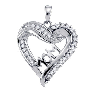 10kt White Gold Womens Round Diamond Mom Mother Heart Outline Pendant 1/5 Cttw