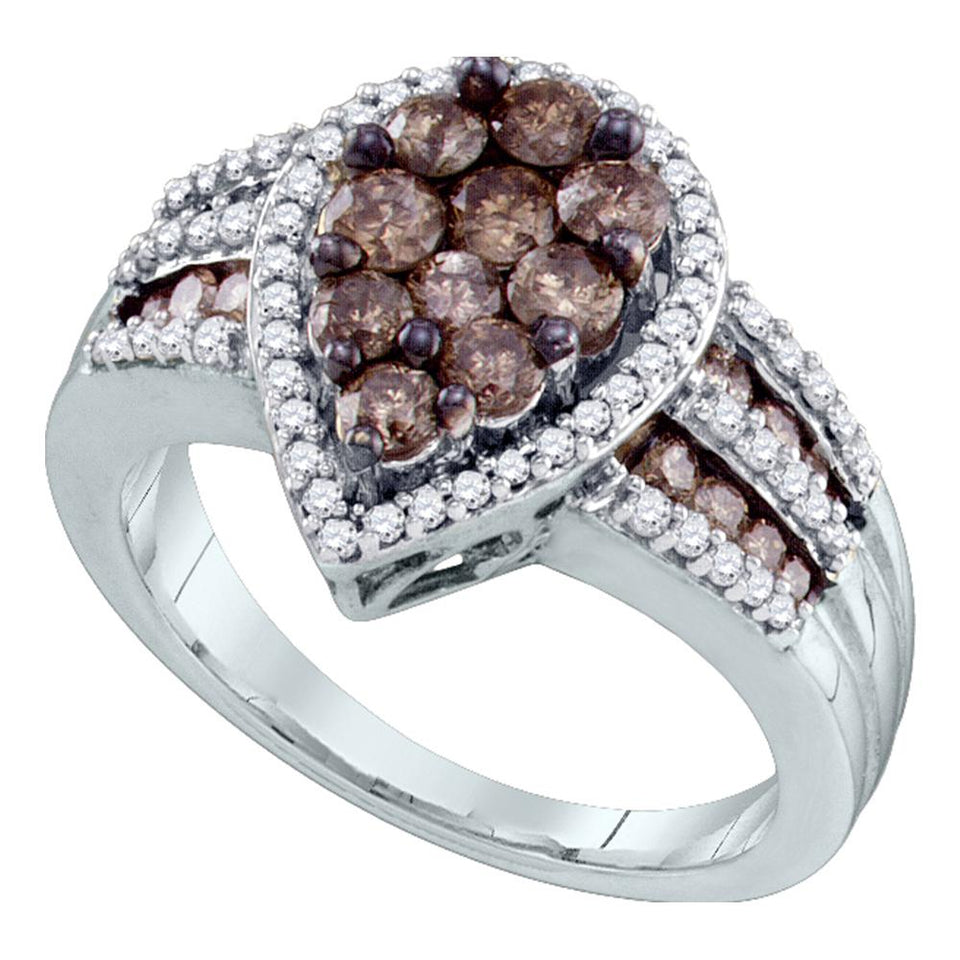 10kt White Gold Womens Round Brown Color Enhanced Diamond Teardrop Cluster Ring 1-1/2 Cttw