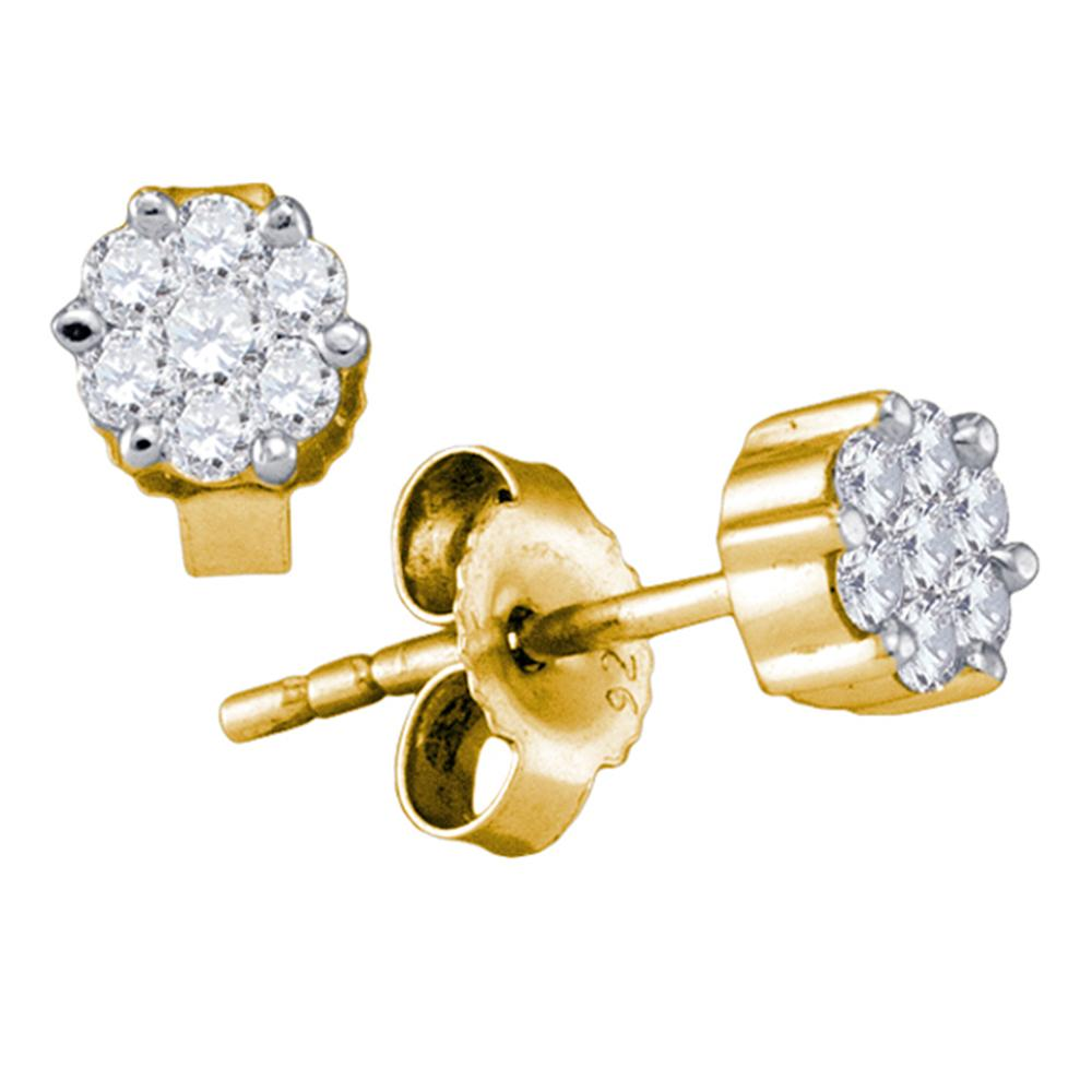 14kt Yellow Gold Womens Round Diamond Flower Cluster Earrings 1/3 Cttw