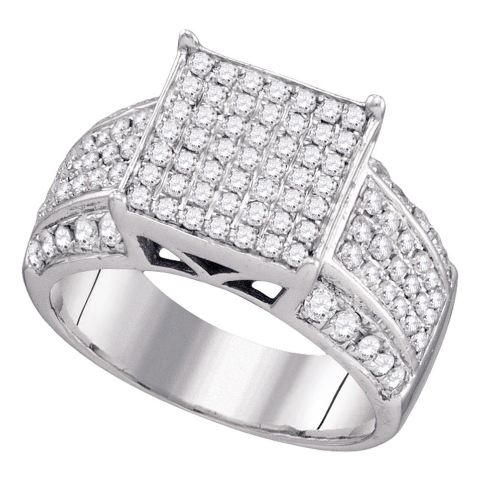 Sterling Silver Womens Round Diamond Square Cluster Bridal Wedding Engagement Ring 1.00 Cttw