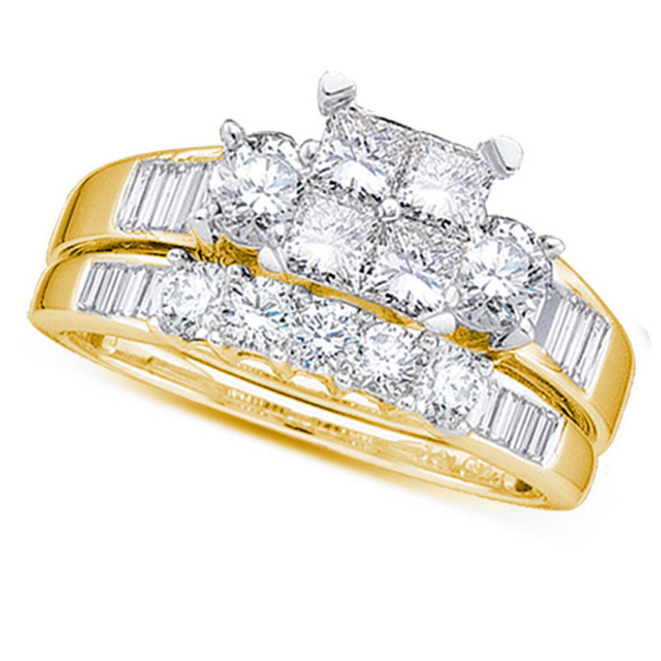 10kt Yellow Gold Womens Princess Diamond Bridal Wedding Engagement Ring Band Set 1/2 Cttw - Size 6