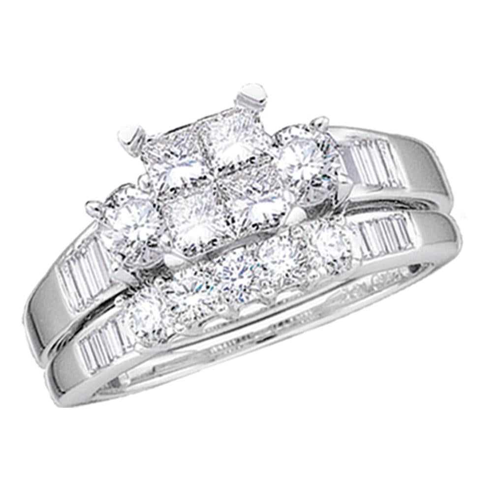 10kt White Gold Womens Princess Diamond Bridal Wedding Engagement Ring Band Set 1/2 Cttw - Size 6