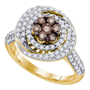10kt Yellow Gold Womens Round Brown Color Enhanced Diamond Cluster Ring 1.00 Cttw