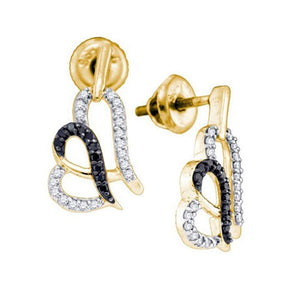 10kt Yellow Gold Womens Round Black Color Enhanced Diamond Heart Stud Earrings 1/3 Cttw