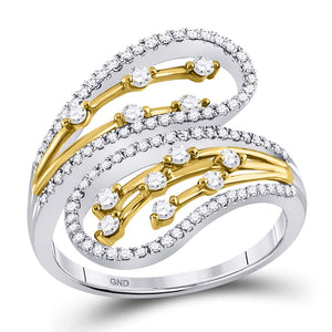 10kt Two-tone White Yellow Gold Womens Round Diamond Oblong Bypass Fashion Ring 1/2 Cttw