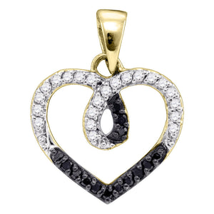 Yellow-tone Sterling Silver Womens Round Black Color Enhanced Diamond Heart Pendant 1/4 Cttw