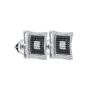 Sterling Silver Mens Round Black Color Enhanced Diamond Stud Earrings 1/8 Cttw
