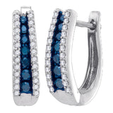 10kt White Gold Womens Round Blue Color Enhanced Diamond Hoop Earrings 1/2 Cttw