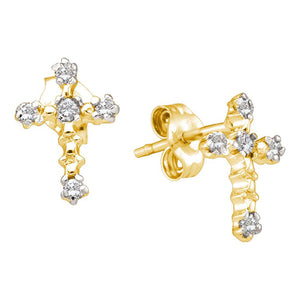 10kt Yellow Gold Womens Round Diamond Cross Religious Earrings 1/20 Cttw