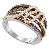 10kt White Gold Womens Round Brown Color Enhanced Diamond Striped Fashion Ring 3/4 Cttw