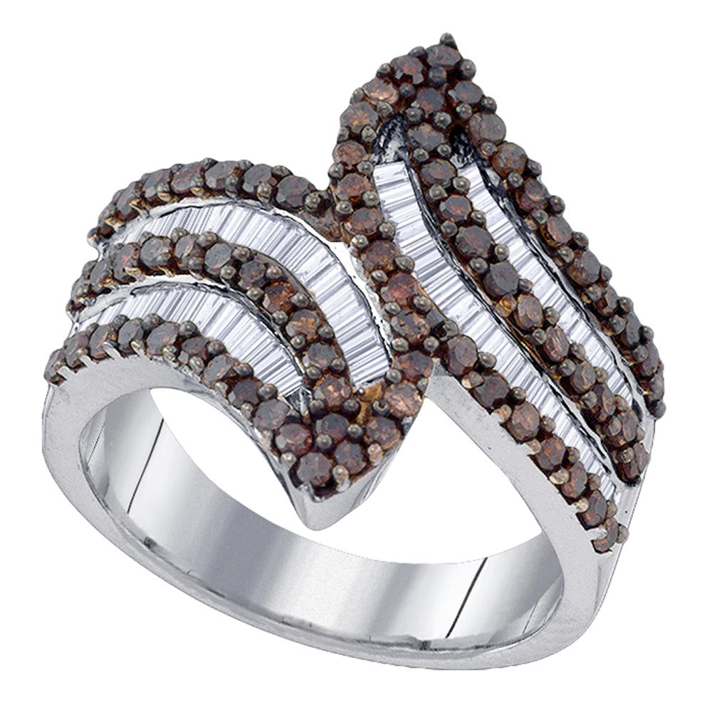 Sterling Silver Womens Round Brown Color Enhanced Diamond Bypass Fashion Ring 1-1/3 Cttw