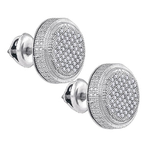 Sterling Silver Mens Round Diamond 3D Circle Cluster Stud Earrings 1/4 Cttw