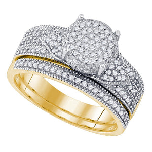 10kt Yellow Gold Womens Round Diamond Cluster Milgrain Bridal Wedding Engagement Ring Band Set 1/2 Cttw