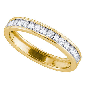 14kt Yellow Gold Womens Round Baguette Diamond Channel-set Wedding Band 1/4 Cttw