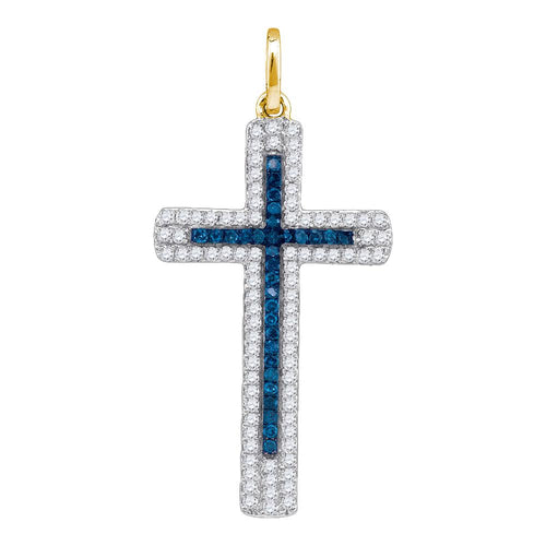 10kt Yellow Gold Womens Round Blue Color Enhanced Diamond Christian Cross Pendant 1/4 Cttw