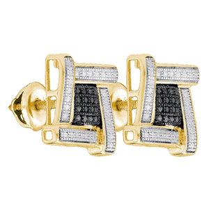 Yellow-tone Sterling Silver Mens Round Black Color Enhanced Diamond Square Cluster Earrings .03 Cttw